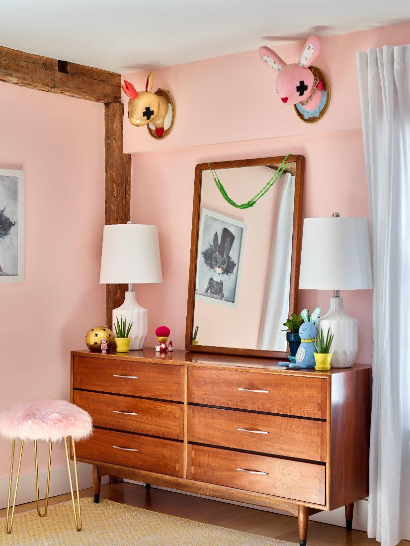 kids-wooden-dresser-hanging-wall-art-fur-stool