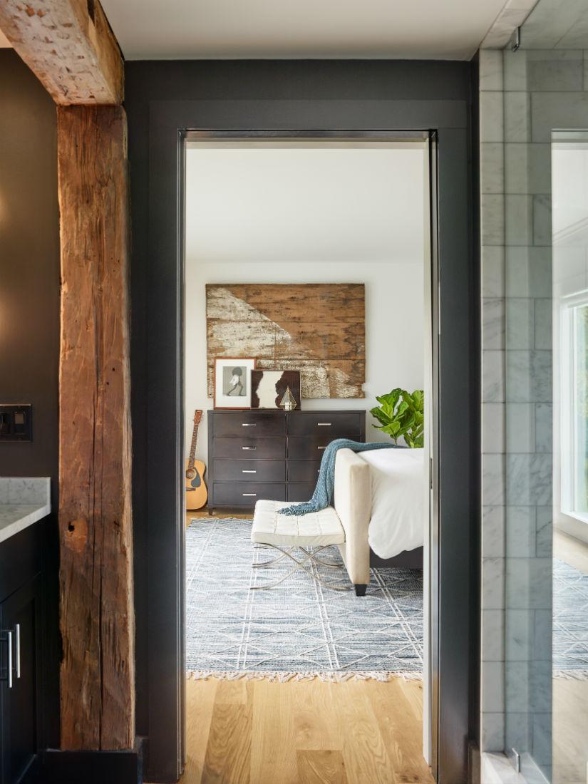 master-bathroom-wood-beam-dark-black-walls-wenham-ma