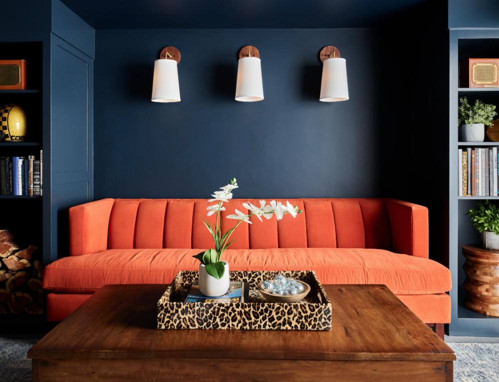 orange-couch-finished-basement-topsfield-ma-interior-designer